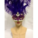 Glitter Purple Feathered Eyemask