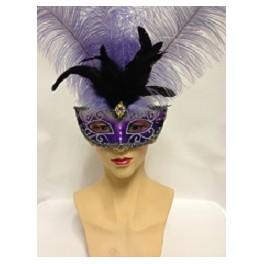Two Tone Purple Feathered Eyemask