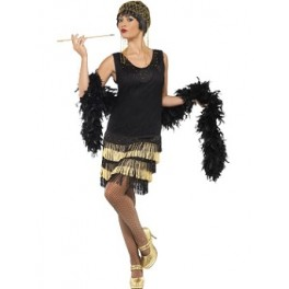 1920's Fringed And Beaded Charleston Flapper Dress