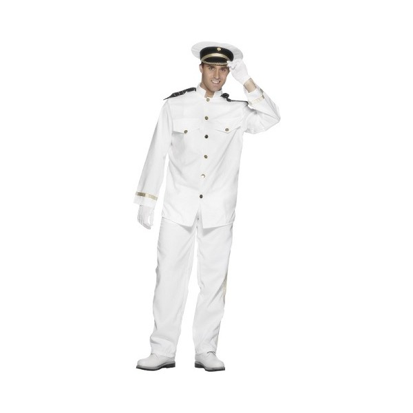 OFFICIAL LADIES MENS TOP GUN OFFICER CAPTAIN WHITE OUTFIT FANCY DRESS COSTUME