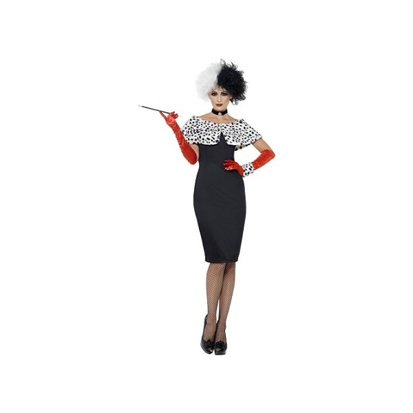 cartoon favourite bad girl cruella de vil costume with dress gloves wrap choker and cuff. Black Bedroom Furniture Sets. Home Design Ideas