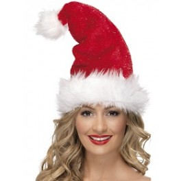 Plush Tinsel Santa Hat