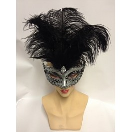 Black And Silver Feathered Eyemask